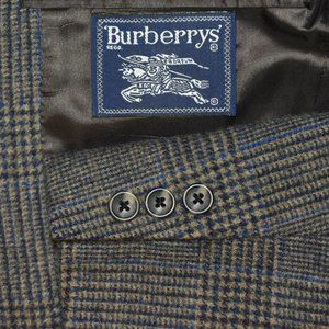 40R Burberry 100% Camelhair Taupe Gray Blue blazer